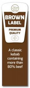 Beef label kebab with script
